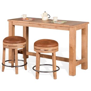3 Piece Pub Table Set with Distressed Finish