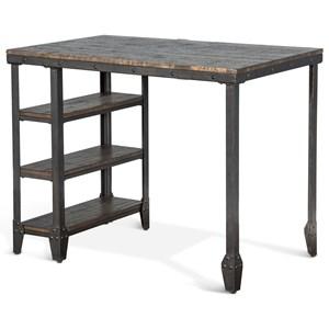 Lamar Metal Table w/ Wood Top & Shelves