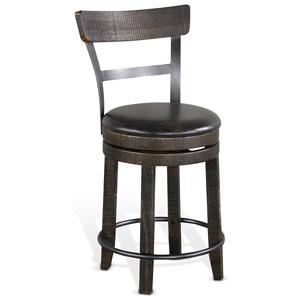 Rustic Swivel Stool with Full Back