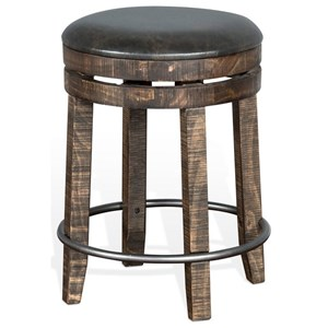 Rustic Backless Swivel Stool with Foot Rest