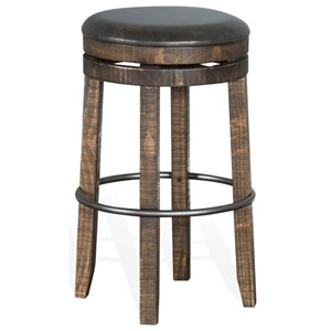 Rustic Backless Swivel Barstool with Foot Rest