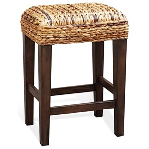 Solid Wood Banana Leaf Counter Height Stool
