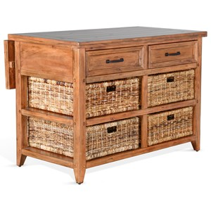 Rustic Kitchen Island Table with Rattan Baskets and Drop Leaf