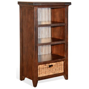 Rustic Bookcase with Metal Back Panel and Rattan Basket