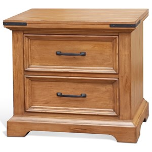 Two Drawer Nightstand with Framed Drawers