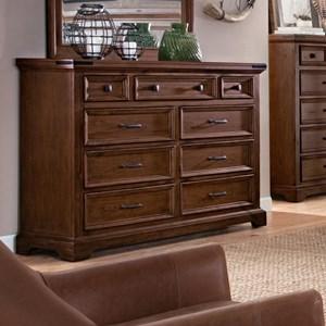 Nine Drawer Dresser with Felt Lined Top Drawers
