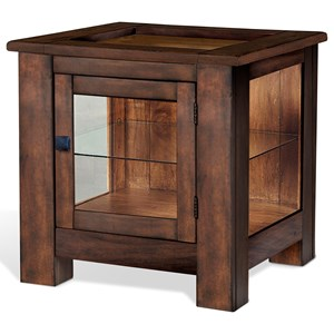 Rustic Curio End Table with Tempered Glass Top Insert