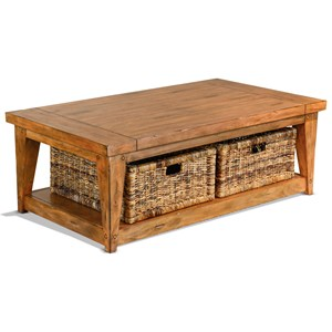 Rustic Cocktail Table with Rattan Baskets