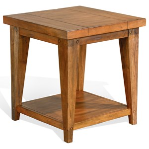Square End Table with Lower Shelf