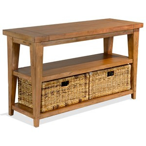 Rustic Sofa Table with Rattan Baskets