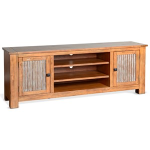 "74"" Rustic TV Console with Metal Door Panels"