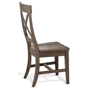 Relaxed Vintage Crossback Dining Chair with Contoured Wooden Seat