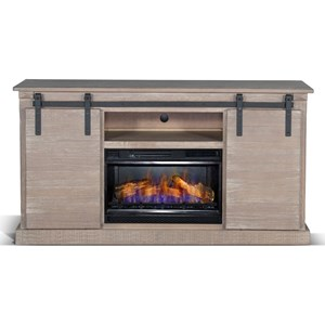 Transitional Barn Door TV Console with Fireplace