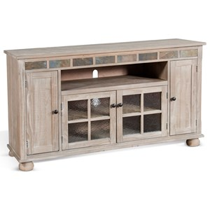 "Transitional 62"" TV Console with Adjustable Shelves"