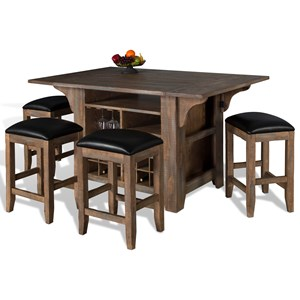5-Piece Kitchen Island with Drop Leaves Set