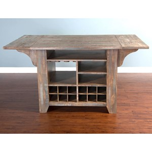 Rustic Kitchen Island with Drop Leaves