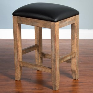 Rustic Backless Stool w/ Cushion Seat