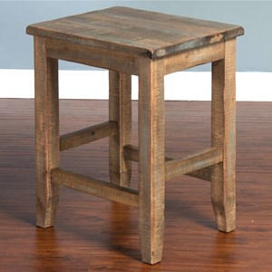 Rustic Backless Stool w/ Wood Seat