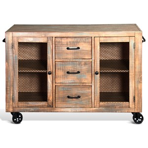 Rustic Rolling Server with Wire Mesh Doors & Casters