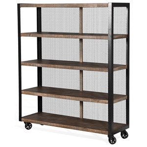 Rolling Buffet/Bookcase with Metal Mesh Back Panel