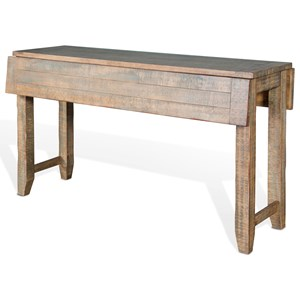 Rustic Sofa Table with Drop Leaves