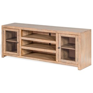 """Rustic 72"""" TV Console with Wire Mesh Doors"""