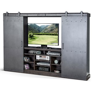 Entertainment Wall Unit with Metal Sliding Doors