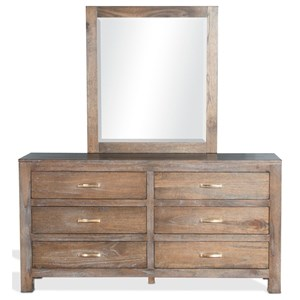 Rustic Dresser and Mirror Combination with 6 Drawers