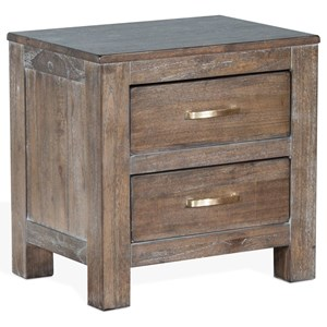 Rustic Nightstand with 2 Drawers
