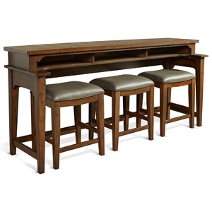 Console Bar Table with Shelf