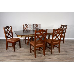 Rustic Dining Set with 6 Side Chairs