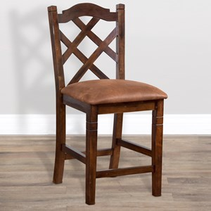Counter Height Double Crossback Stool with Upholstered Seat