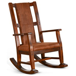 Wood Rocker with Upholstered Seat
