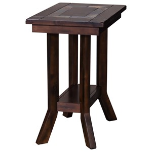 Rustic Chair Side Table Natural Slate Inlay