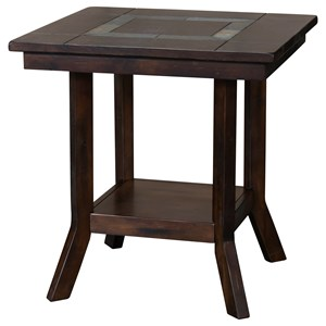 End Table with Natural Slate Inlay