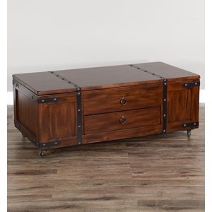 Lift Top Trunk Style Coffee Table with Casters