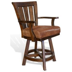 Slatback Counter Height Barstool with Swivel Seat
