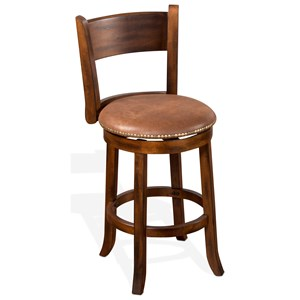 Upholstered Swivel Counter Stool with Back