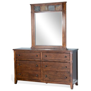 Rustic Six Drawer Dresser and Mirror Set