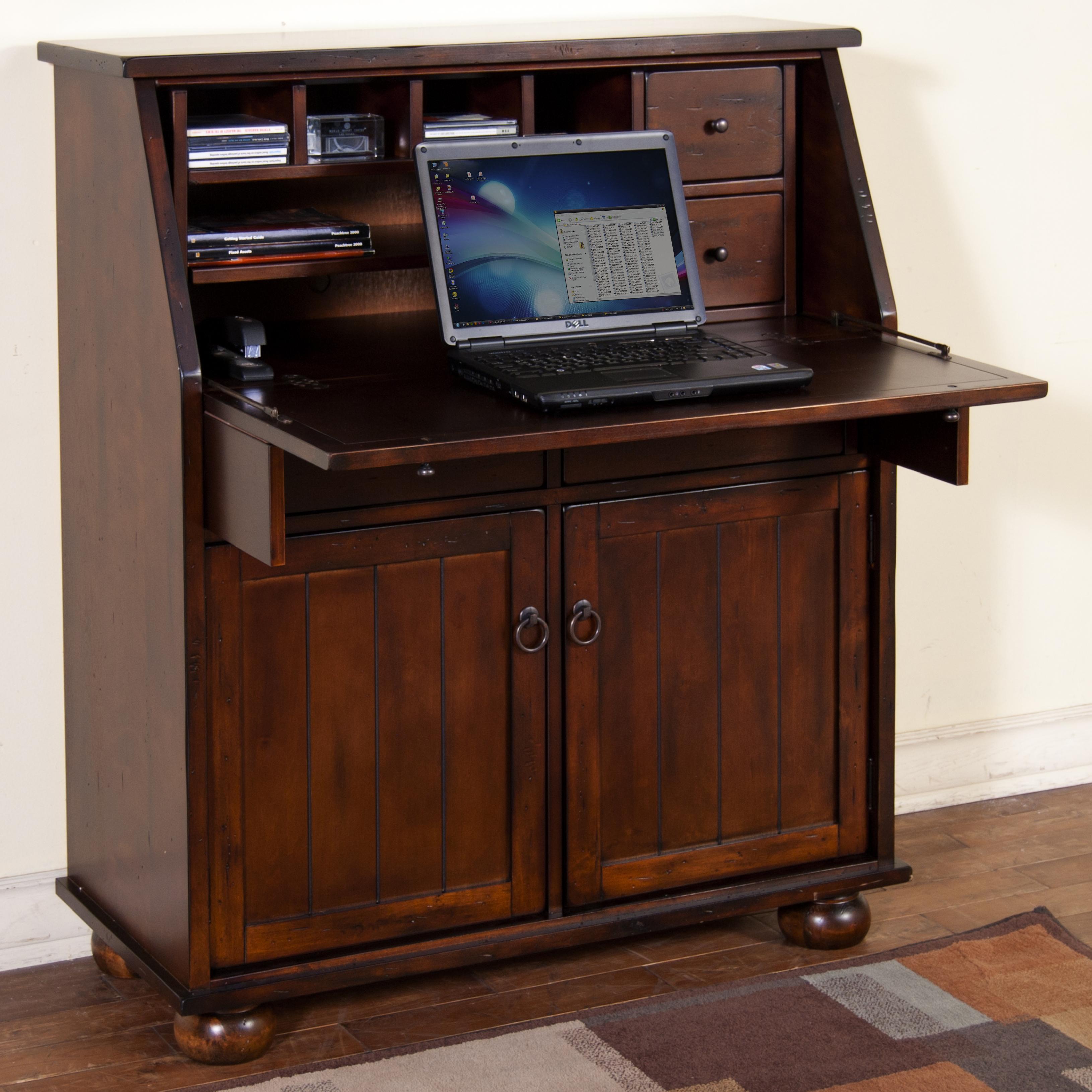 Santa Fe Drop Leaf Laptop Desk Armoire  by Sunny Designs at Walker's Furniture