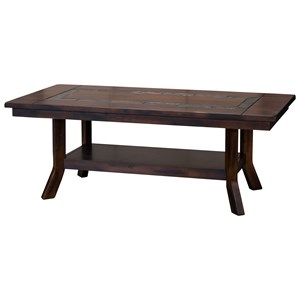 Rustic Coffee Table with Natural Slate Inlay