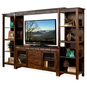 Rustic 108 Inch Open Display Wall Unit