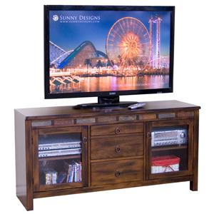 Sunny Designs Santa Fe 60 Inch TV Console with Game Drawer