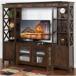 "Sunny Designs Santa Fe 4-Piece Entertainment Wall w/ 45"" TV Console"