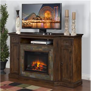 "Distressed Birch Fireplace TV Console w/  26"" Firebox and Slate"