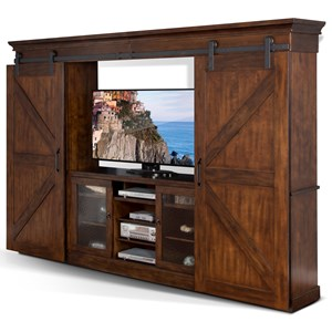 Entertainment Wall Unit with Barn Doors