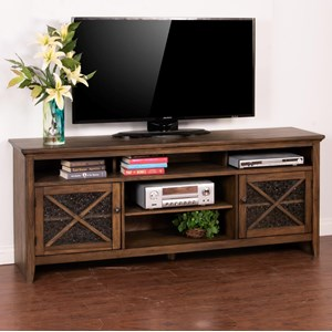 "74"" TV Console with Ice Glass Doors"