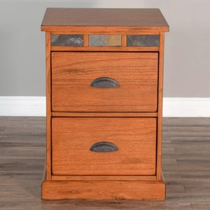 2-Drawer File Cabinet with Slate Accents