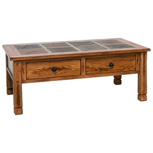 Rustic Coffee Table with Slate Top