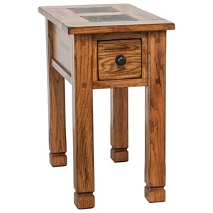 Rustic Chair Side Table with Slate Accents